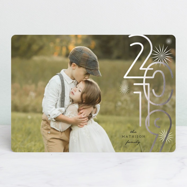 """""""A Bold New Year"""" - Modern Foil-pressed Holiday Cards in Onyx by fatfatin."""