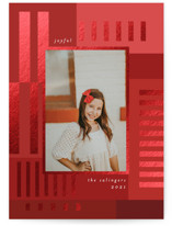 This is a red foil stamped holiday card by Morgan Kendall called Patchwork with foil-pressed printing on smooth signature in standard.