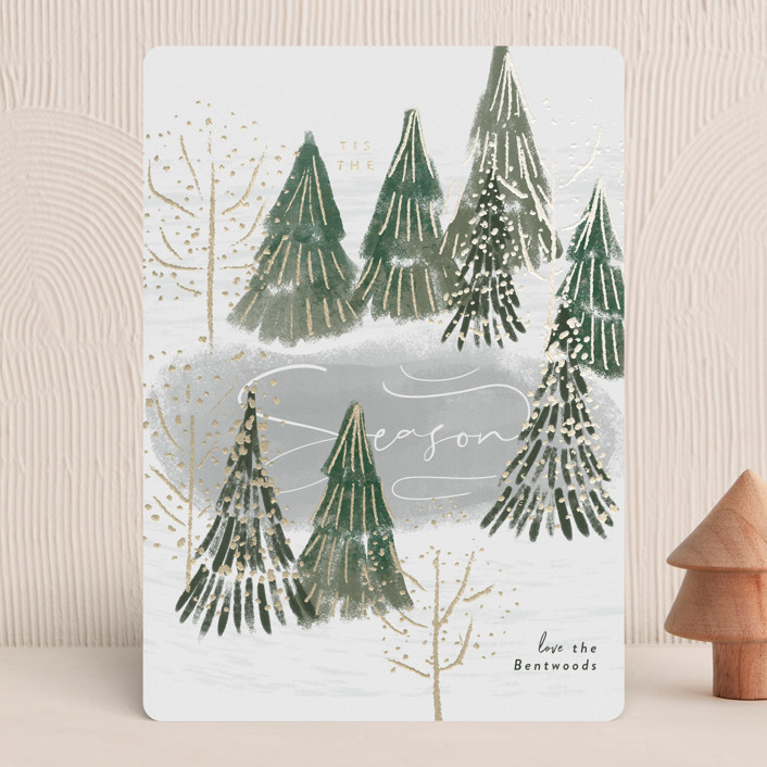 """""""Frozen Pond"""" - Foil-pressed Holiday Cards in Evergreen by Rebecca Durflinger."""