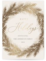 This is a brown foil stamped holiday card by Oma N. Ramkhelawan called Bold Wreath with foil-pressed printing on signature in standard.