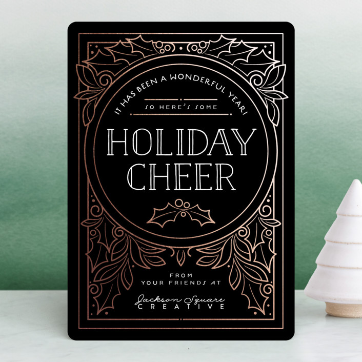 """""""Deco Cheer"""" - Vintage Foil-pressed Holiday Cards in Rose Gold by GeekInk Design."""