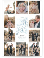 This is a blue foil stamped holiday card by Alethea and Ruth called What a year grid with foil-pressed printing on smooth signature in standard.