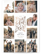 This is a brown foil stamped holiday card by Alethea and Ruth called What a year grid with foil-pressed printing on smooth signature in standard.
