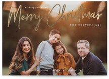 This is a white foil stamped holiday card by Liz Conley called A Signature Holiday with foil-pressed printing on smooth signature in standard.
