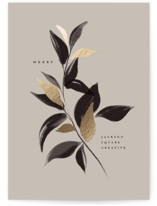 This is a grey foil stamped holiday card by Vivian Yiwing called Merry Botanical with foil-pressed printing on signature in standard.