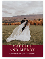 This is a red foil stamped holiday card by Vanessa Doyle called Married and Merry with foil-pressed printing on smooth signature in standard.