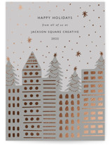 This is a grey foil stamped holiday card by Elly called City Stars with foil-pressed printing on signature in standard.