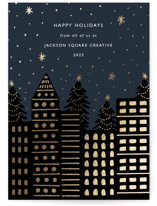 This is a blue foil stamped holiday card by Elly called City Stars with foil-pressed printing on signature in standard.