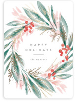 This is a pink foil stamped holiday card by Kristie Kern called Forest Greens with foil-pressed printing on signature in standard.