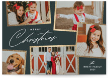 This is a green foil stamped holiday card by Jennifer Postorino called Holiday Scrapbook with foil-pressed printing on smooth signature in standard.