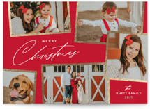 This is a red foil stamped holiday card by Jennifer Postorino called Holiday Scrapbook with foil-pressed printing on smooth signature in standard.