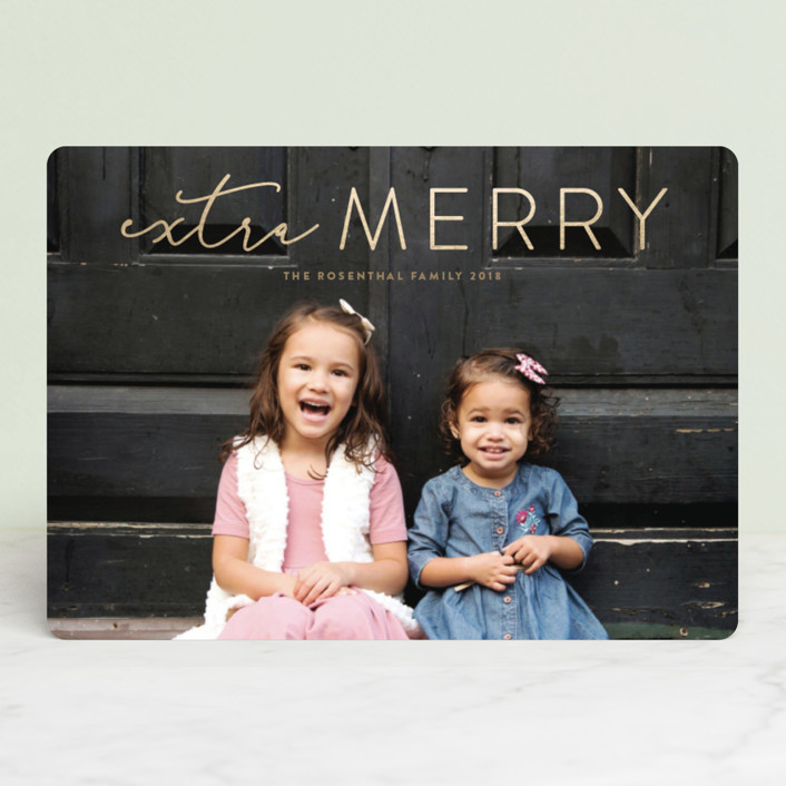 """""""Extra Merry"""" - Foil-pressed Holiday Cards in Golden by Erica Krystek."""