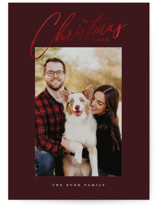 This is a red foil stamped holiday card by Simona Camp called Christmas Glow with foil-pressed printing on smooth signature in standard.