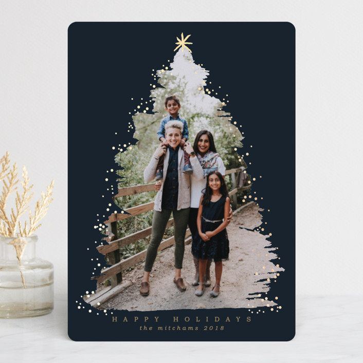 """Under the Tree"" - Foil-pressed Holiday Cards in Navy by Grae Sales."