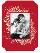 This is a red foil stamped holiday card by Phrosne Ras called berrie corners with foil-pressed printing on smooth signature in standard.