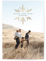 This is a black foil stamped holiday card by Amy Payne called Simple Snowflake with foil-pressed printing on smooth signature in standard.