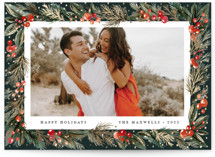 This is a green foil stamped holiday card by Jackie Crawford called Cedar Pine Frame with foil-pressed printing on smooth signature in standard.