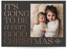 This is a brown foil stamped holiday card by Jackie Crawford called Very good with foil-pressed printing on smooth signature in standard.