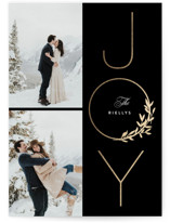 This is a black foil stamped holiday card by Stacey Meacham called Joy Wreath with foil-pressed printing on smooth signature in standard.