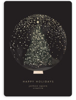 This is a black foil stamped holiday card by Lori Wemple called Christmas Snowglobe with foil-pressed printing on signature in standard.