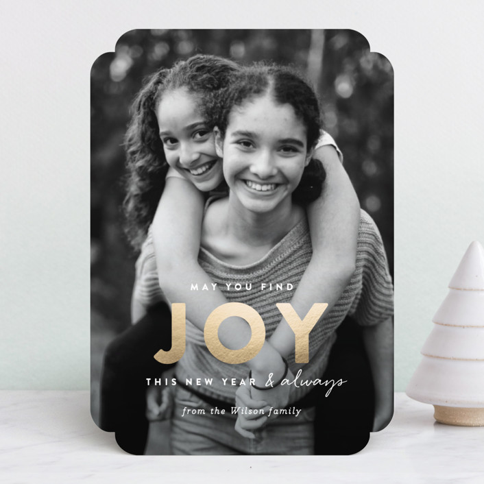 """finding joy"" - Foil-pressed Holiday Cards in Pearl by Sara Hicks Malone."