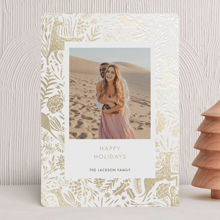 """""""Holiday Forest Photo"""" - Bohemian Foil-pressed Holiday Cards in Jour by Made by Mosa."""
