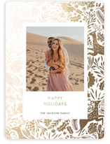 This is a white foil stamped holiday card by Made by Mosa called Holiday Forest Photo with foil-pressed printing on smooth signature in standard.