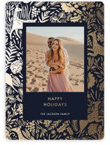 This is a blue foil stamped holiday card by Made by Mosa called Holiday Forest Photo with foil-pressed printing on smooth signature in standard.
