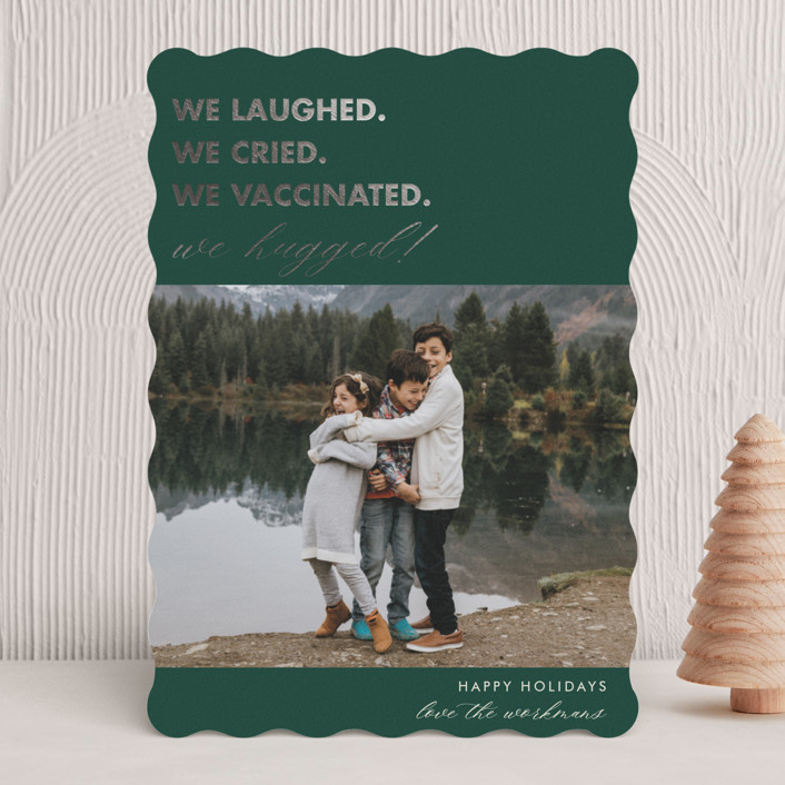 """""""We Made It"""" - Funny Foil-pressed Holiday Cards in Pine by Beth Schneider."""