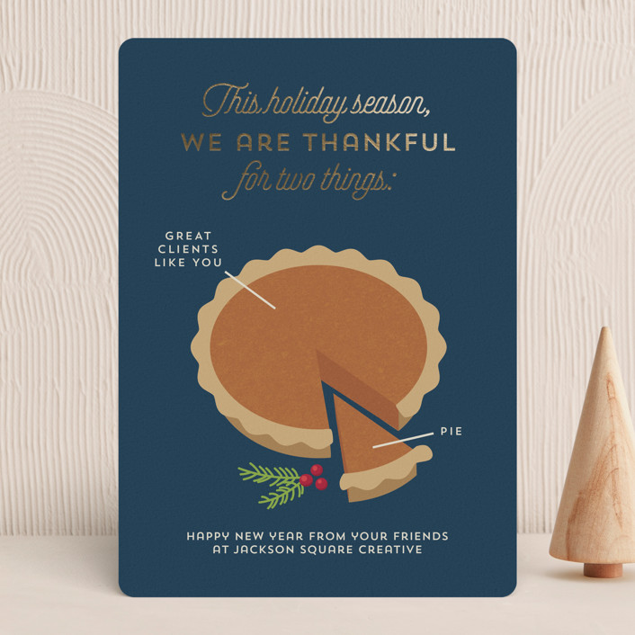 """Pie Chart"" - Funny Foil-pressed Holiday Cards in Midnight by Holly Whitcomb."