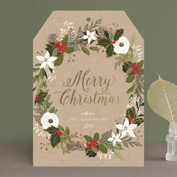 """""""Floral & Pine Wreath"""" - Foil-pressed Holiday Cards in Kraft by Susan Moyal."""