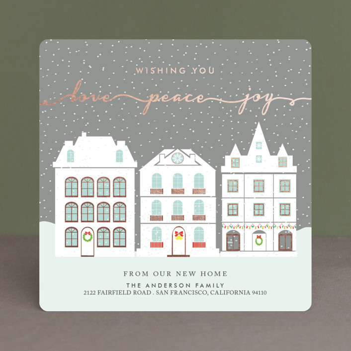 """""""Peaceful Winter"""" - Foil-pressed Holiday Cards in Coal by Elly."""