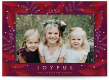 This is a purple foil stamped holiday card by Joanne James called Joyful Sparkle with foil-pressed printing on smooth signature in standard.