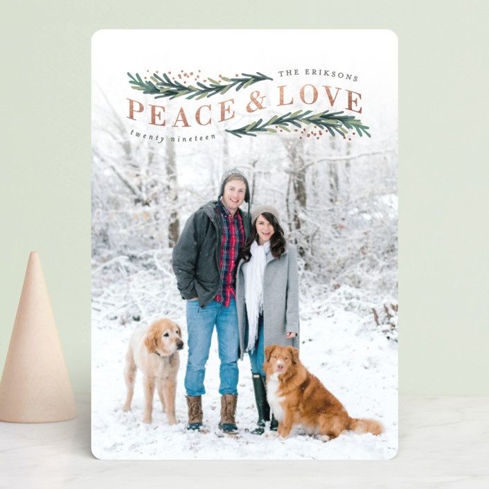 """Peace & Love Arch"" - Bohemian Foil-pressed Holiday Cards in Rose Gold by Hooray Creative."