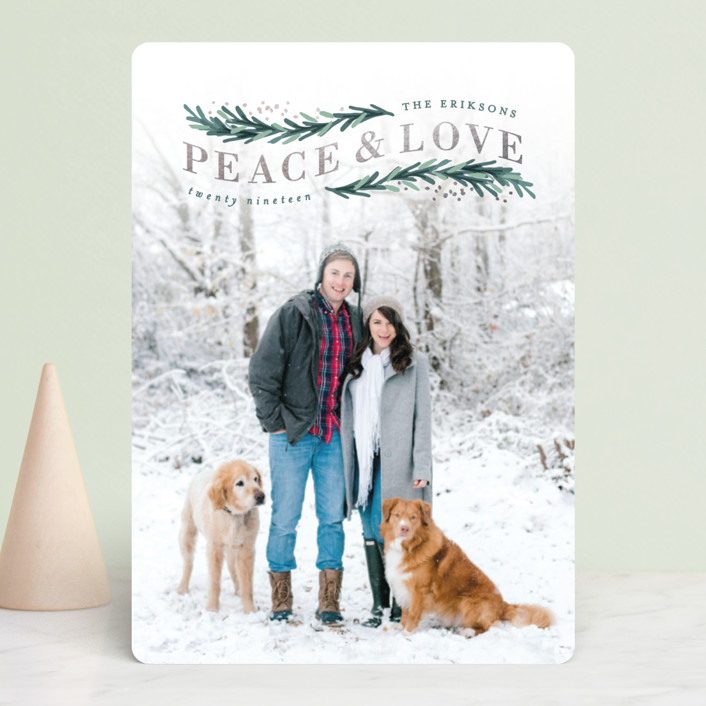 """Peace & Love Arch"" - Bohemian Foil-pressed Holiday Cards in Forest by Hooray Creative."