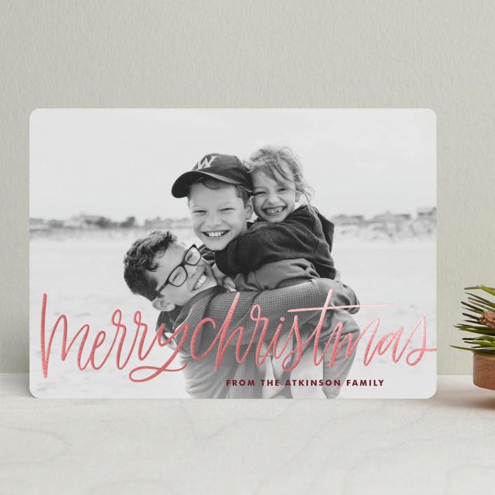 """Merry Christmas Lettering"" - Foil-pressed Holiday Cards in Merlot by kbecca."