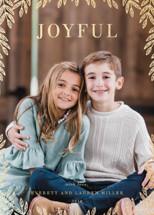 Joyful Leaves Foil-Pressed Holiday Cards By Oma N. Ramkhelawan