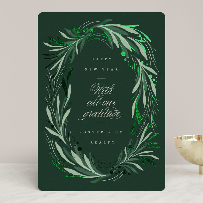 """Garland"" - Foil-pressed Holiday Cards in Evergreen by Erin L. Wilson."