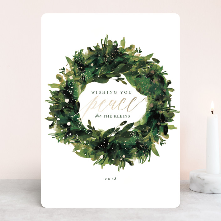 """""""Greenery Wreath"""" - Foil-pressed Holiday Cards in Pine by Lori Wemple."""