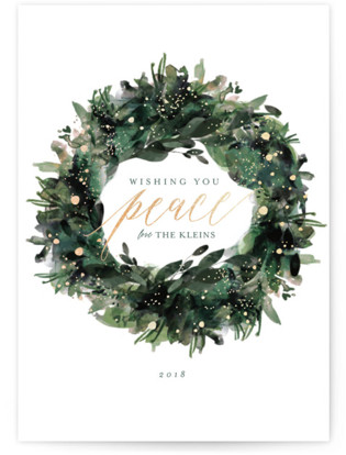 Greenery Wreath Foil-Pressed Holiday Cards