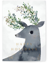 This is a grey foil stamped holiday card by Lori Wemple called Deerly with foil-pressed printing on signature in standard.