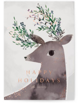 This is a brown foil stamped holiday card by Lori Wemple called Deerly with foil-pressed printing on signature in standard.
