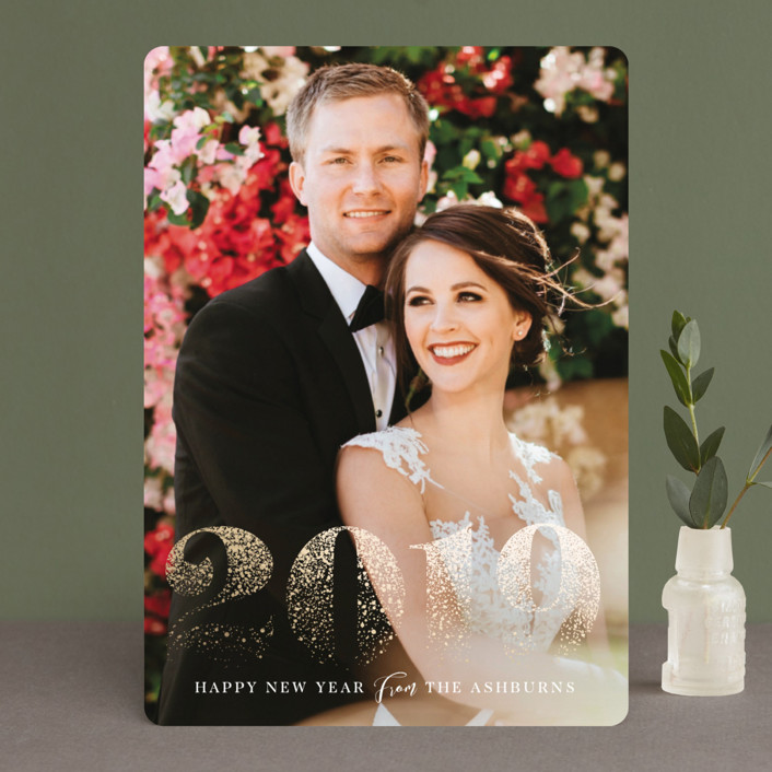"""""""Shimmering Year"""" - Bohemian Foil-pressed Holiday Cards in Aqua by GeekInk Design."""
