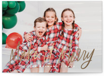 This is a white foil stamped holiday card by Snow and Ivy called Merry Makers with foil-pressed printing on smooth signature in standard.