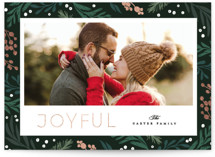 This is a black foil stamped holiday card by Creo Study called Botanical Joy with foil-pressed printing on smooth signature in standard.