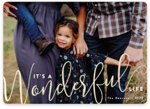 This is a white foil stamped holiday card by Susan Asbill called Wonderful with foil-pressed printing on smooth signature in standard.