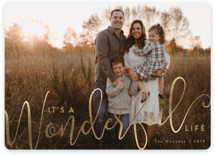 This is a brown foil stamped holiday card by Susan Asbill called Wonderful with foil-pressed printing on smooth signature in standard.