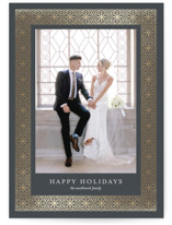 This is a grey foil stamped holiday card by Erin Deegan called moroccan frame with foil-pressed printing on smooth signature in standard.