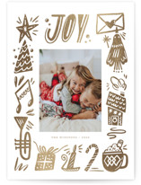 This is a brown foil stamped holiday card by Vivian Yiwing called Joy! with foil-pressed printing on smooth signature in standard.