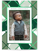 This is a green foil stamped holiday card by Carrie ONeal called Ria with foil-pressed printing on smooth signature in standard.